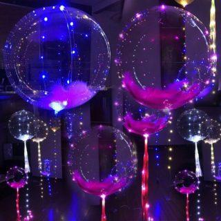 Воздушные шары с подсветкой и перьями