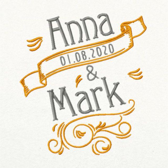 на свадьбу вышивка с именами и датой