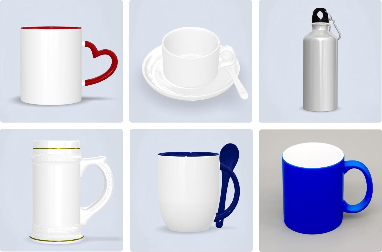 Вид выбора кружек, бокалов, чашек, для печати и каталога заготовок кружек