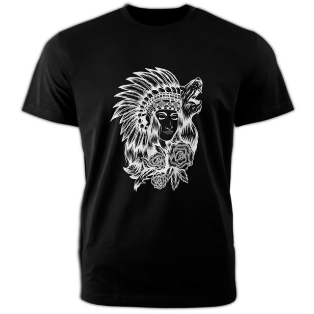 черная футболка девушка и волк