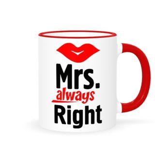 """Кружки парные """"Mr. Right & Mrs. always Right она"""""""