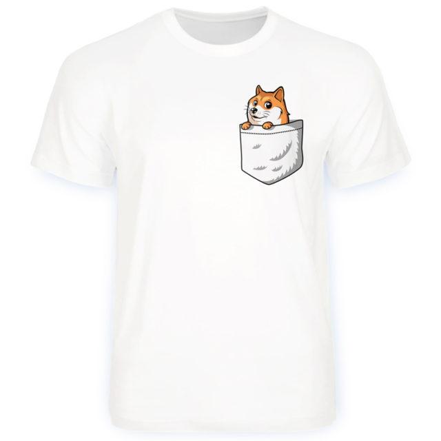 собака в кармане футболка белая