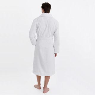 Халат махровый белый мужской вид сзади