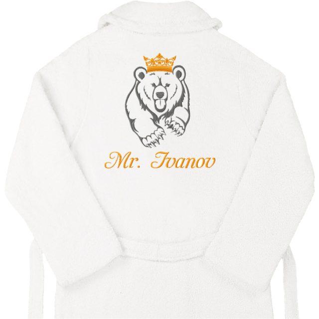 """Халат с вышивкой """"Медведь с короной и именем"""""""